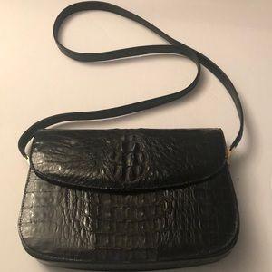 Vintage leather crocodile handbag